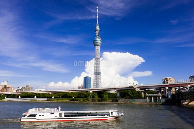 東京スカイツリーと夏雲と水上バスの写真素材 [FYI01592184]