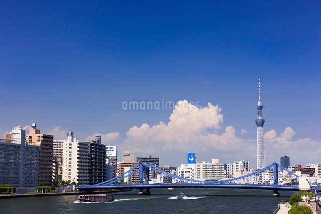 東京スカイツリーと清洲橋と隅田川の写真素材 [FYI01592759]