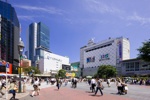 渋谷駅前交差点と渋谷ヒカリエの写真素材 [FYI01593057]