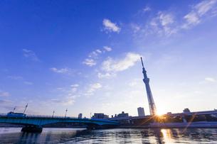 東京スカイツリーと日の出の写真素材 [FYI01593557]