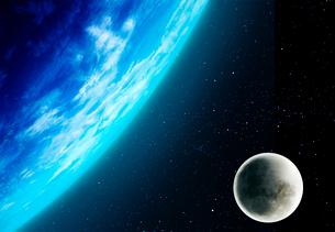 地球と月の写真素材 [FYI01594513]