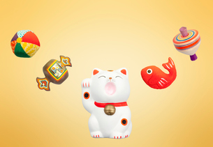 招き猫と鯛と駒と鞠と打ち出の小槌の写真素材 [FYI01594763]