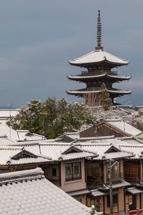 雪の八坂ノ塔の写真素材 [FYI01595921]