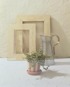 額縁と植木鉢と水差しの写真素材 [FYI01596204]