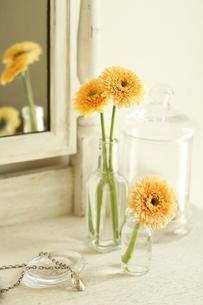 ドレッサーの上の白い花とペンダントの写真素材 [FYI01597536]