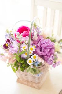 白い椅子の上の春の花アレンジの写真素材 [FYI01597663]