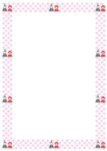 ひな人形と桃の花のフレームのイラスト素材 [FYI01597999]