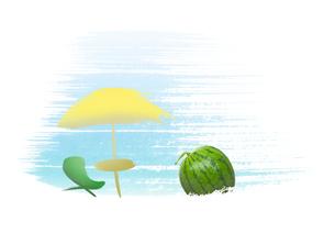スイカとビーチパラソルのイラスト素材 [FYI01598151]