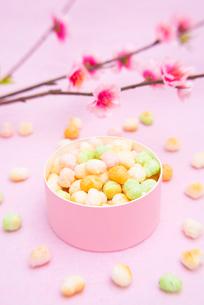 桃色の菓子入れに入ったひなあられと桃の花の写真素材 [FYI01598189]