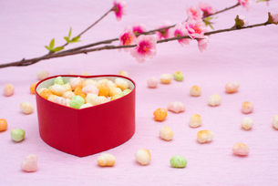 ハート型の菓子入れに入ったひなあられと桃の花の写真素材 [FYI01598248]