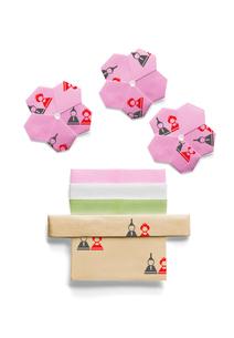 雛人形の模様が付いた桃の花と菱餅の折り紙の写真素材 [FYI01598278]
