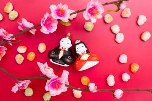 雛人形と桃の花,ひなあられの写真素材 [FYI01598545]