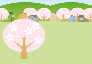 桜の花が咲く住宅街のイラスト素材 [FYI01598561]