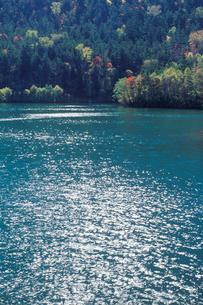 紅葉の然別湖の写真素材 [FYI01599213]