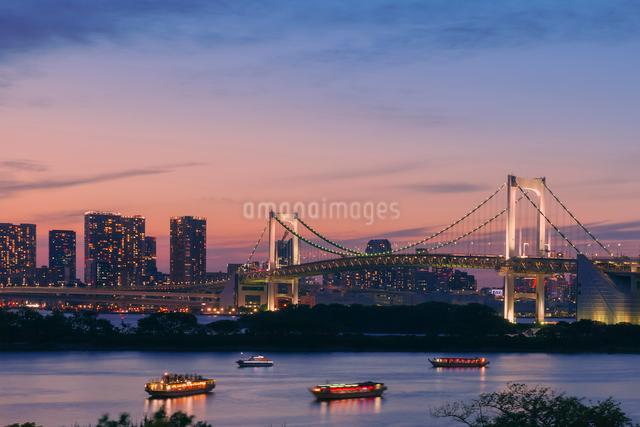 お台場の夕景とライトアップの写真素材 [FYI01599457]