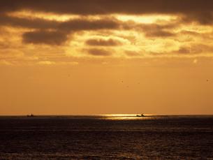 朝の海と漁船の写真素材 [FYI01599467]