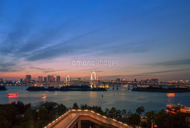 お台場の夕景とライトアップの写真素材 [FYI01600121]