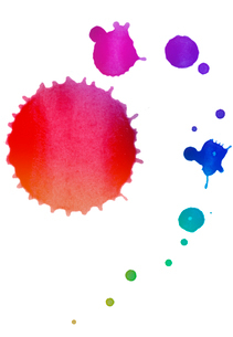 カラフルな水彩絵具のドリッピングの写真素材 [FYI01600750]