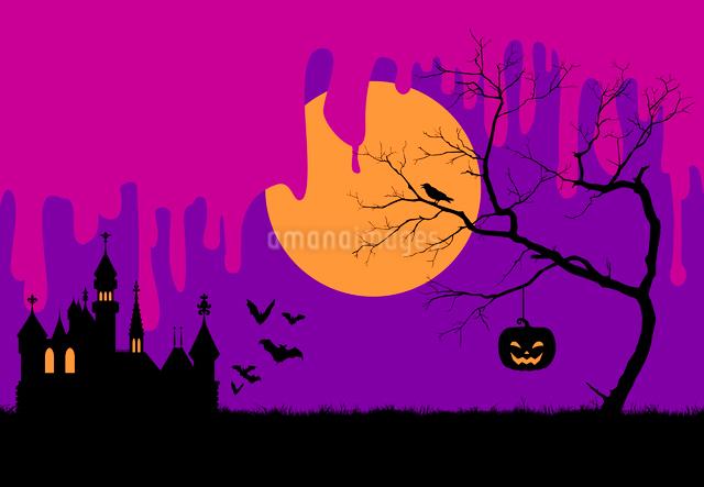 ハロウィンの夜のシルエットイメージのイラスト素材 [FYI01600811]
