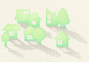 マス目の上にシルエットの家並と木の写真素材 [FYI01600837]