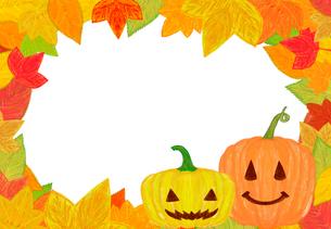 ハロウィンのカボチャと落ち葉のフレームのイラスト素材 [FYI01600885]