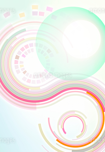 回転するカラフルな軌跡のアブストラクトの写真素材 [FYI01600947]