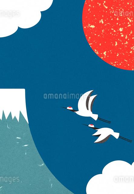 富士山の日の出と丹頂鶴のコラージュイラストのイラスト素材 [FYI01600984]