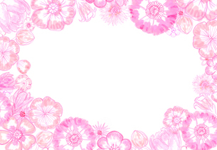 ピンクのお花のフレームのイラスト素材 [FYI01601102]