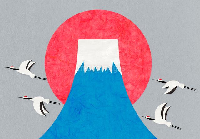富士山の日の出と丹頂鶴のコラージュイラストのイラスト素材 [FYI01601103]