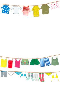 洗濯された色々な洋服のイラスト素材 [FYI01601107]