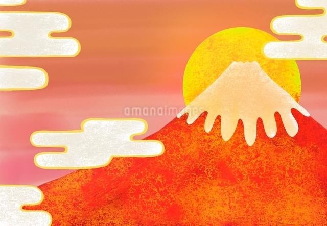 赤富士と日の出のイラストのイラスト素材 [FYI01601112]