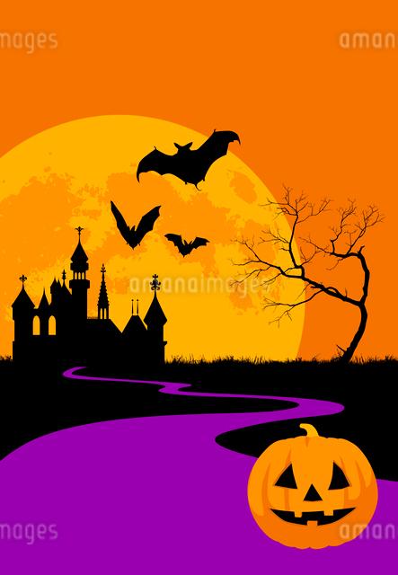 ハロウィンの夜のシルエットイメージのイラスト素材 [FYI01601131]