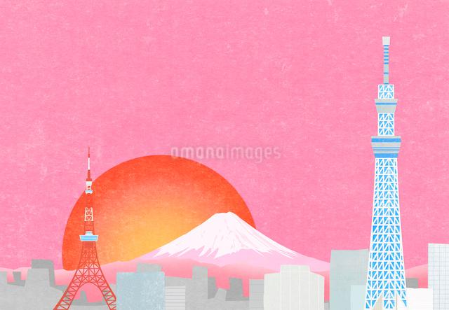 東京の町と富士山に日の出のイラストのイラスト素材 [FYI01601135]