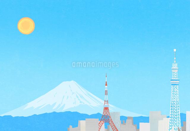 東京の町と富士山のイラストのイラスト素材 [FYI01601157]