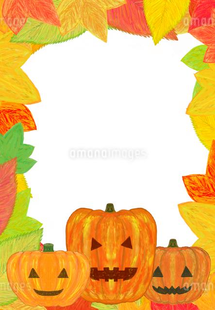 ハロウィンのカボチャと落ち葉のフレームのイラスト素材 [FYI01601162]