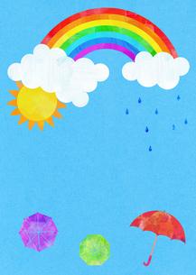 虹と雨と傘のイラスト素材 [FYI01601202]