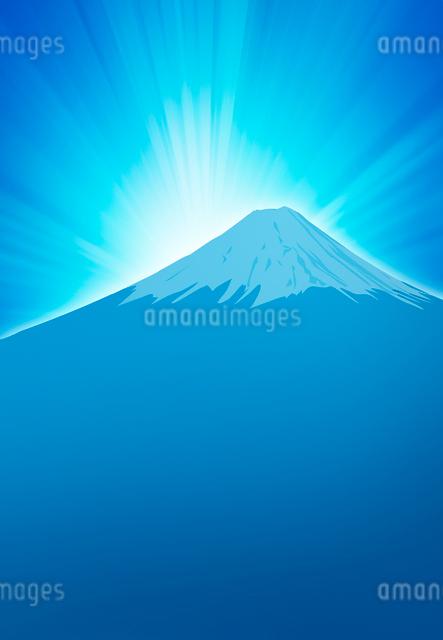 日の出と青い富士山のイラストのイラスト素材 [FYI01601248]