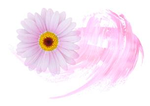 マーガレットの花と抽象画の組み合わせのイラスト素材 [FYI01601279]