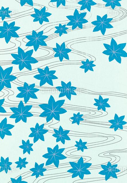 青いもみじと流れのコラージュのイラスト素材 [FYI01601328]