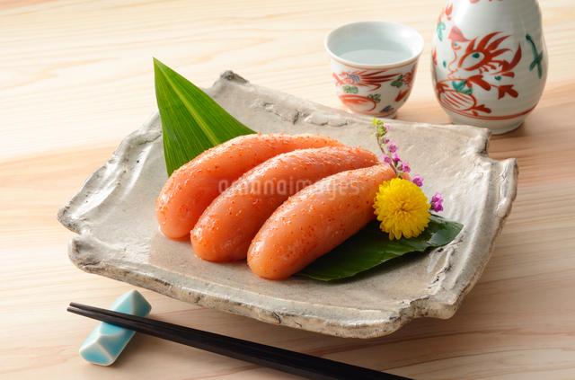 辛子明太子と日本酒の写真素材 [FYI01601358]