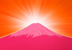 日の出と赤い富士山のイラストのイラスト素材 [FYI01601424]