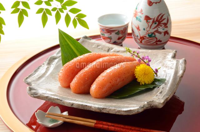 辛子明太子と日本酒の写真素材 [FYI01601431]