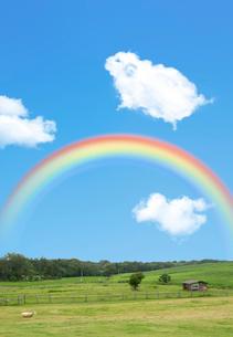 羊の形をした雲と虹のイラスト素材 [FYI01601460]