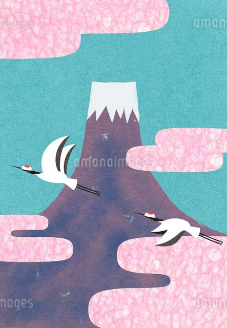 富士山と丹頂鶴のコラージュイラストのイラスト素材 [FYI01601495]