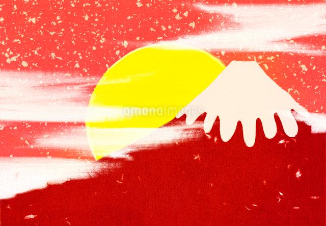 赤富士と日の出のコラージュイラストのイラスト素材 [FYI01601503]
