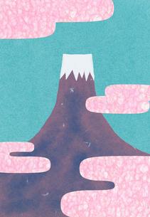 富士山と丹頂鶴のコラージュイラストのイラスト素材 [FYI01601557]