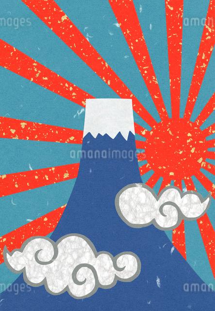 富士山と日の出のコラージュイラストのイラスト素材 [FYI01601652]