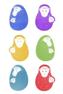 サルの親子のハンコのイラスト素材 [FYI01601980]
