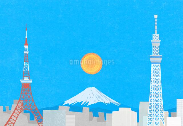 東京の町と富士山のイラストのイラスト素材 [FYI01601983]
