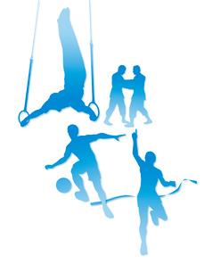オリンピック競技のシルエット白背景のイラスト素材 [FYI01602091]
